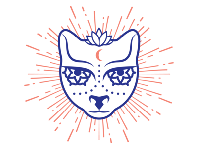 Blue Cat Yoga - brand element cat vector logo graphicdesign illustration