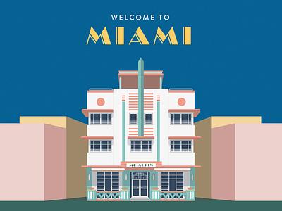 Welcome to Miami vector dimensional art deco miami