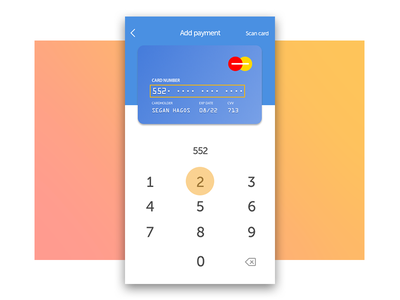 Daily UI 002: Credit Card Checkout scan card add payment number pad number card checkout credit card ui daily 002 daily ui