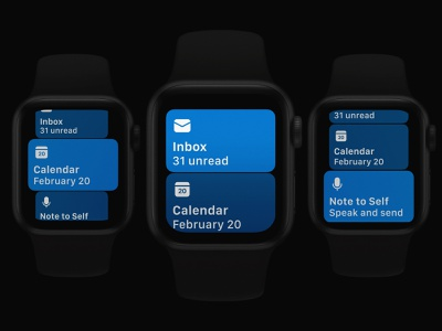 Outlook Apple Watch Main Screen Refresh wearables dark ui outlook microsoft interface apps design dark apps apple apple watch