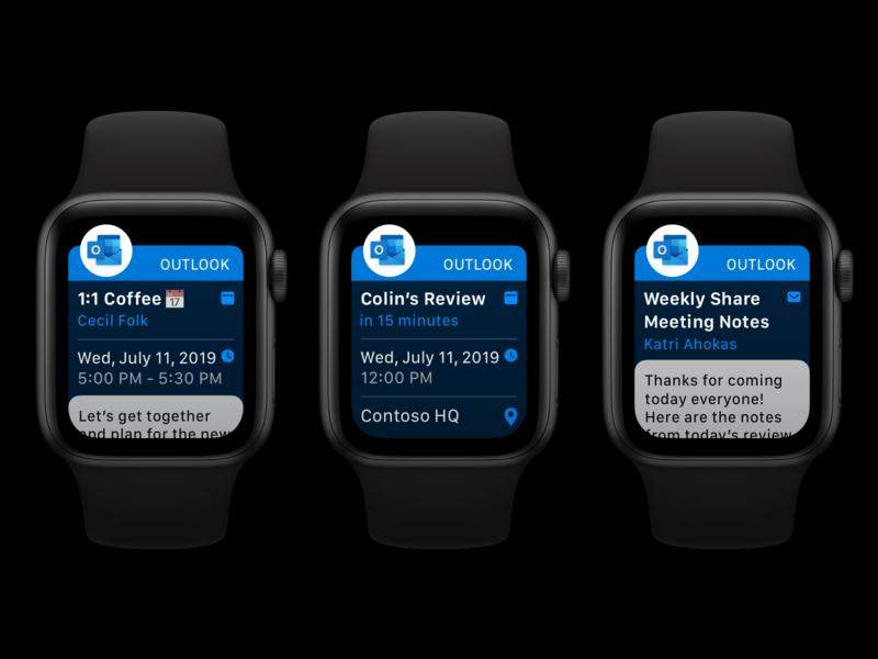 Apple Watch Notifications Refresh outlook microsoft wearables apple watch apple design dark interface apps ui