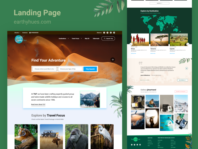 Travel Landing Page tourism landing page trave ux ui