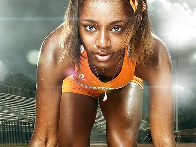 UT Track and Field  retouching photo retouch track athlete orange vols sweat