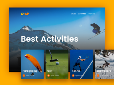 Best Sport Activities desktop web ux ui cards activity sport