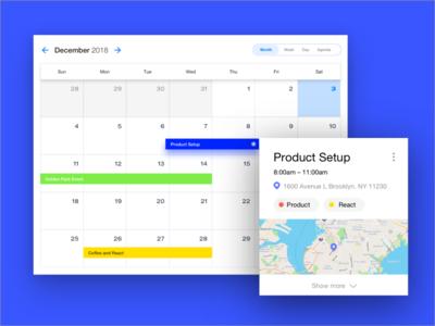 Memcare Calendar web ui ux map tag detials blue cards desktop calendar