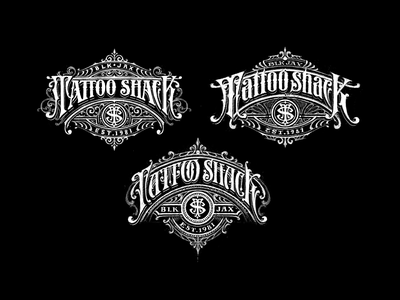 Tattoo shack logo concepts custom lettering identity logo vintage logotype branding sketch typography handlettering lettering