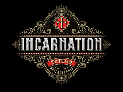 Incarnation tattoo victorkevruh vector custom lettering identity vintage logo logotype handlettering typography lettering