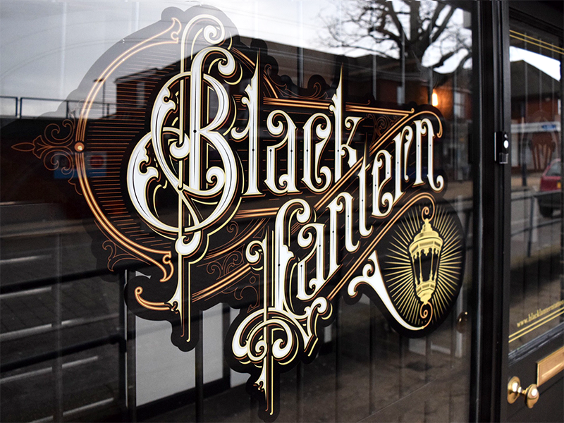 Black Lantern window sign vintage vector typography logotype logo lettering handlettering caligraphy