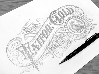 """Tattoo Gold"" hand-lettering"