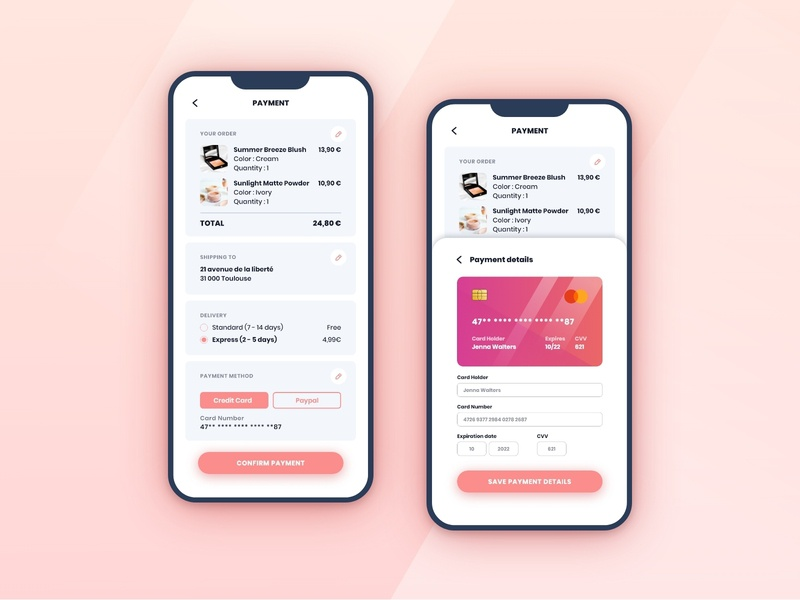 Daily UI - 02 | Credit Card Checkout challenge uidesigner order pink gradient payment credit card checkout shopping appdesign app interface uiux uidesigns uidesign dailyui 002 dailyuichallenge daily100 daily ui adobexd
