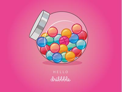 Hello Dribbble ! illustration illustrator vector candy hello dribbble first shot sweets