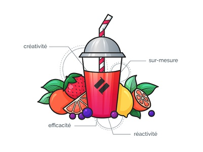 Smoothie Illustration ui branding colorful pink features vector gradient orange strawberry lemon portfolio website fruits fruit smoothie portfolio design illustration illustrator
