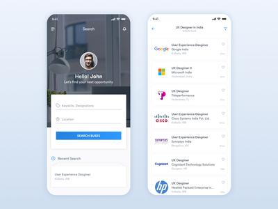 Job Search & Job List Screen App Design