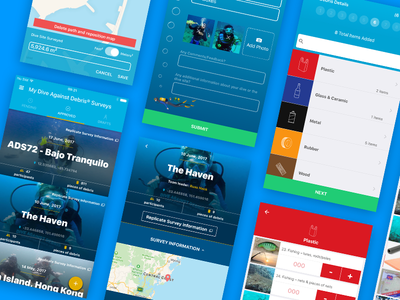 Project Aware App Design divers ocean marine debris ux ui mobile design app