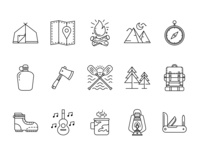 Hiking And Camping Icons