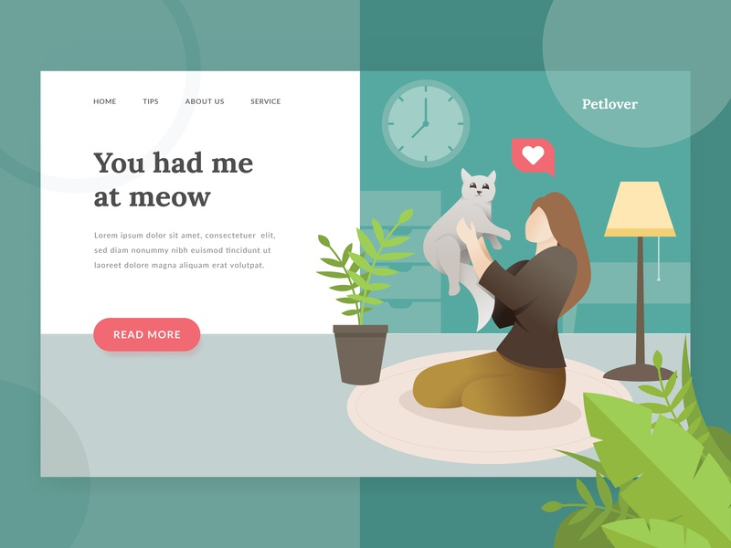 Pet Lover Landing Page cute kitten kitty pet shop pets people women landing page illustration homepage header family dog cat character adoption happiness
