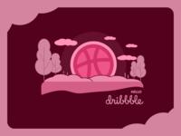 Hello dribbble vector ui illustration branding flatdesign design
