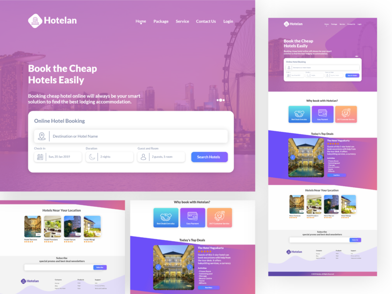 [FREE] Hotelan - Book the Cheap Hotels Easily flatdesign ui simple uidesign website hotel booking hotel booking page landing homepage design