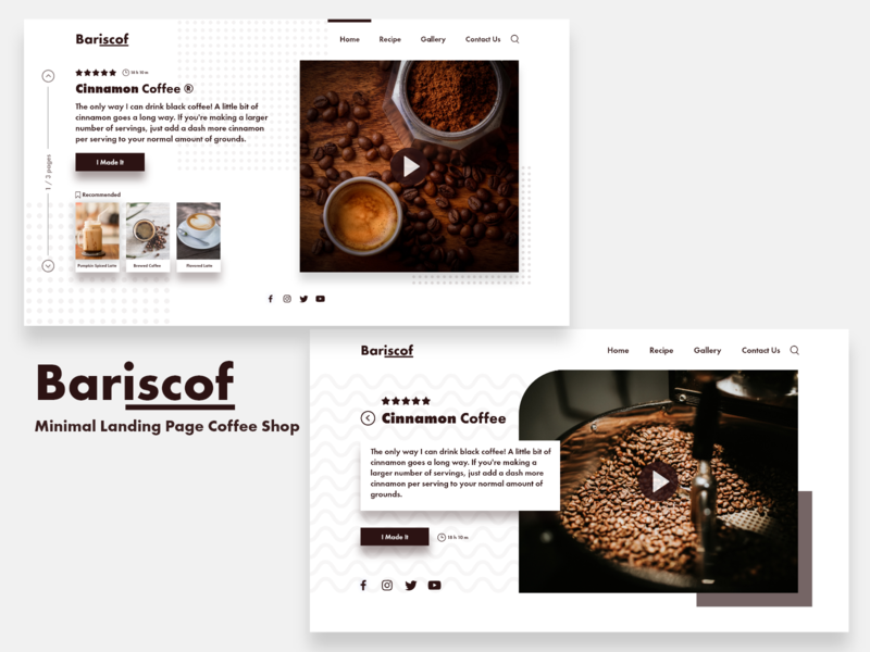 Bariscof - Minimal Landing Page Coffee Shop recipe coffee branding concept minimal layoutdesign landing page website layout ui simple homepage