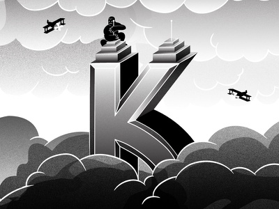 36 Days of Type - K bgrade noir monster kong kingkong graphicdesign illustratedtype typography type 36daysoftype 36days-k