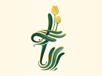 36 Days of Type - T flower tulip floral graphicdesign illustratedtype handlettering lettering typography type 36daysoftype 36days-t