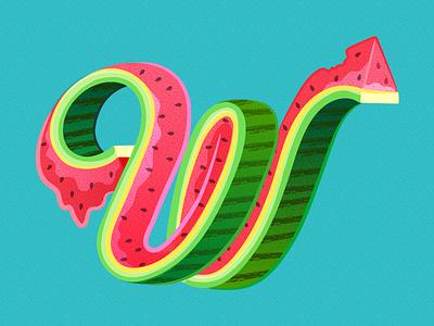36 Days of Type - W summerfruit watermelon fruit summer graphicdesign illustratedtype handlettering lettering typography type 36daysoftype 36days-w