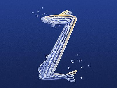36 Days of Type - Z zebrafish fish illustratedtype handlettering lettering typography type 36daysoftype 36days-z