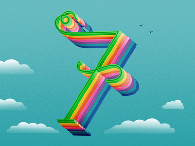 36 Days of Type - 7 fun rainbow seven graphicdesign illustratedtype handlettering lettering typography type 36daysoftype 36days-7