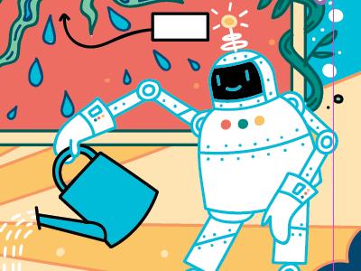 Friendly robot cartoon comic illustration kids textbook fun happy cute children science android robot