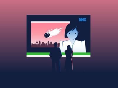 Sci Fi apocolypse dystopia future cartoon news comet scifi
