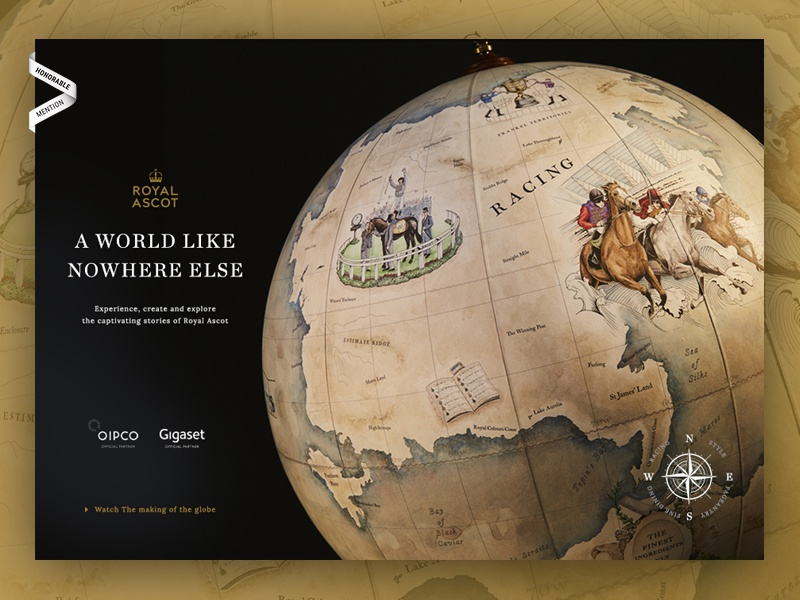 Royal Ascot Like Nowhere Else Globe Project paint nav compass imagery big luxury premium event world globe ascot royal