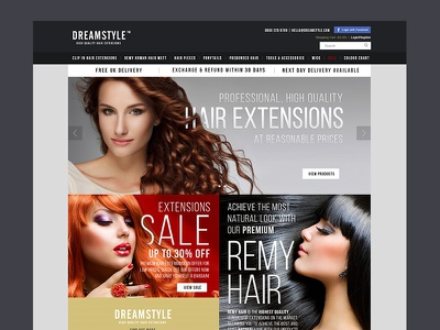 Dreamstyle Hair Extentions ux ui website web dream extension wig sale makeup fashion hair