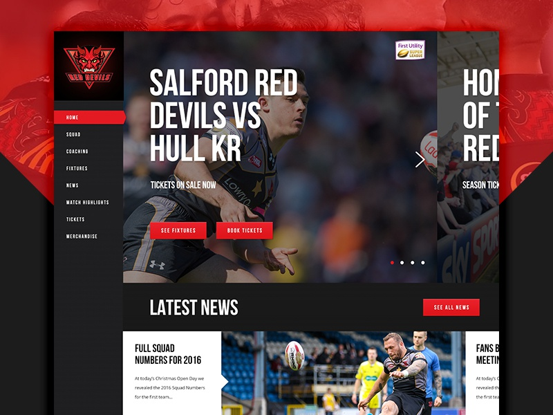Salford Red Devils - E3creative home nav left website platform sport league rugby devils red salford
