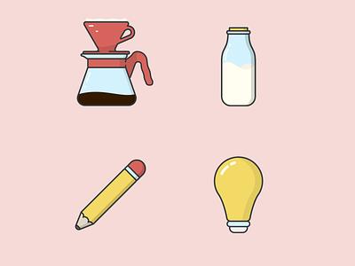 Coffee Ideas pastel lightbulb v60 hario coffee stationary milk illustrator