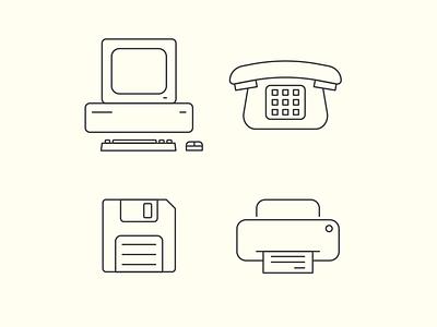 Vintage Office vintage telephone stroke stationary printer phone mouse minimal logo design keyboard illustrator icon floppy disk desktop computer