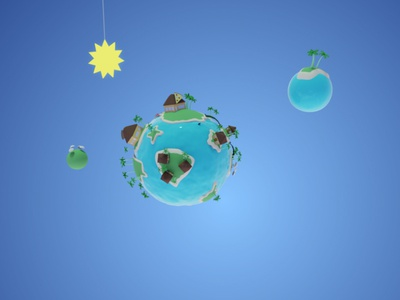 Island Planet low poly day blender tropics island planet small planet 3d