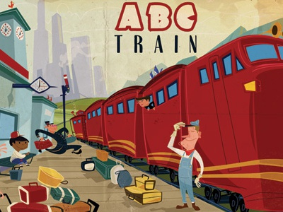 ABC Cover train station kids red city luggage