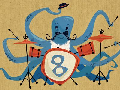 Octopus octopus band music sea ocean drumming mustache drum bang cymbal eight hat
