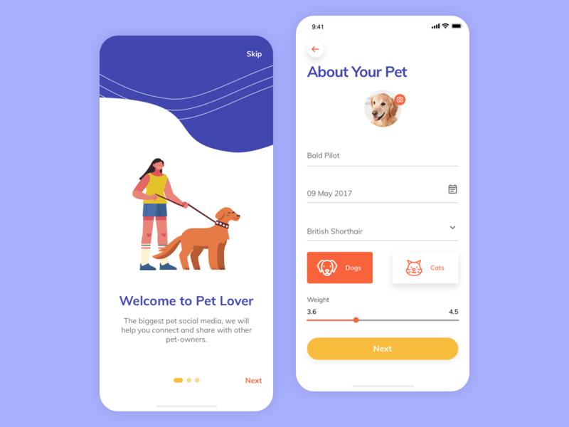 Pet Lover - Social Media mobile app ux design socialmedia social pets uiux ui