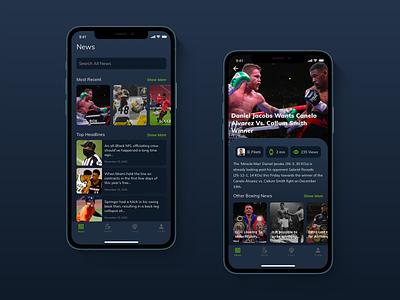 Sports News App sports boxing mobile mobile app ux ui design
