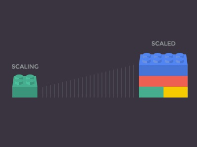 Scaling and Scaled legos scale scaling startup web app flat perspective