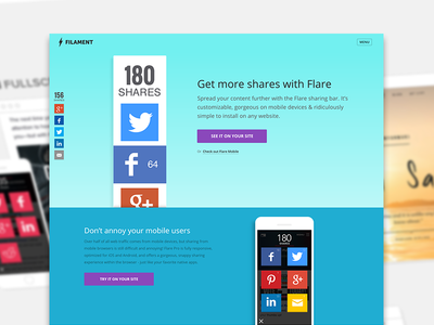 Flare by Filament Site Redesign filament web app social share social icons gradient blue flare purple features matrix