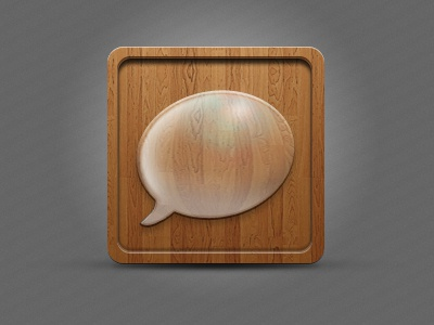 Social Icon icon wood social chat bubble app