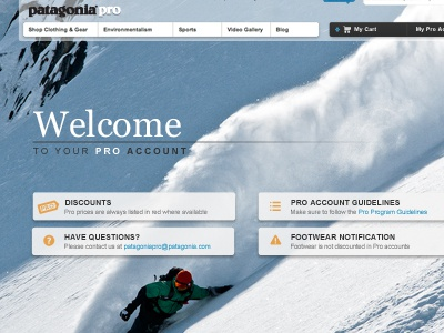 Pro Account Welcome welcome ecommerce dashboard outdoor apparel georgia