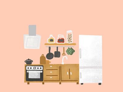 Small simple kitchen home house room illustration flat illustration procreate art siemens oven samsung fridge white fridge hobs small kitchen kitchen home decoration interior illustration illustration