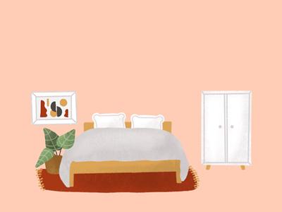 Boring bedroom sleep empty room procreate art flat illustration illustration room decor bed bedroom decor bedroom