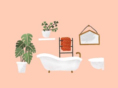 White Bathroom with plants house illustration towel toilet bathtub mirror procreate illustration flat illustration home decor bathroom bathroom design