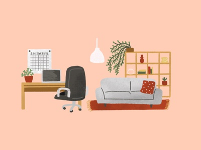 The living and the studio illustration procreate flat illustration sofa pillow schedule working chair working space kallax room decor house illustration ikea ikea light bureau studio livingroom