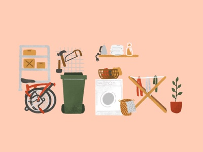 Laundry room and the messy garage illustration house illustration room illustration home decor rattan basket drying rack washing machine towels iron boxes hammer diy tool tools trash bin bin compost brompton laundry room garage