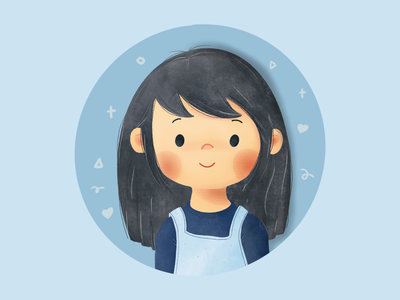 Self portrait kid's face cute girl cute kid kawaii self potrait girl kids character design illustration illustratie